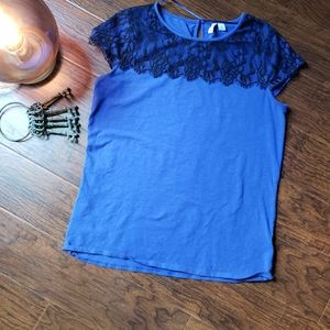 Blue top with lace detail